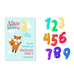 birthday invitation with fox and numbers vector image