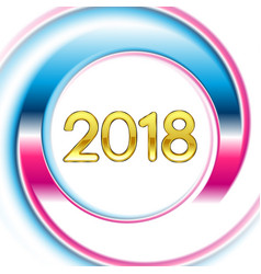 blue pink ring new year 2018 background vector image