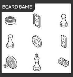 Board game outline isometric icons vector