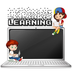Boy and girl using computer vector image