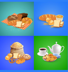 bread concept icons set vector image