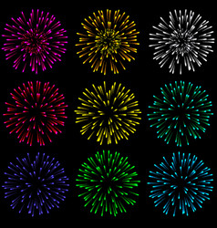 Brightly colorful fireworks and salute- isolated vector