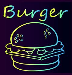 Burger sticker bright sketch vector