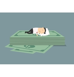 Businessman sleeping on dollar money stack vector image