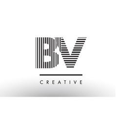 Bv b v black and white lines letter logo design vector