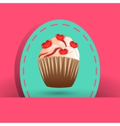 Candy cupcake on the pink background vector image