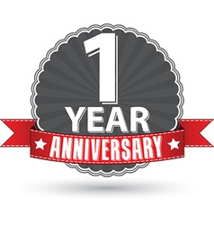 Celebrating 1 year anniversary retro label vector