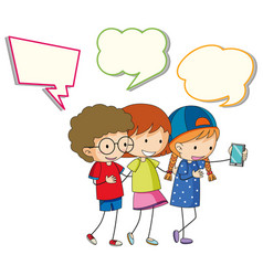 children with speech balloon vector image