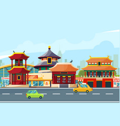 Chinese urban landscape with traditional buildings vector
