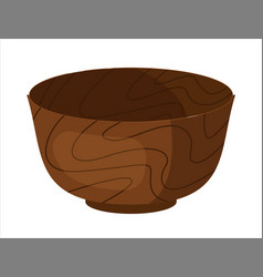 Clay bowl ceramic dishware isolated on white vector