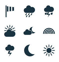 Climate icons set collection of flag sun-cloud vector