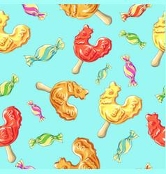 cockerel candy pattern caramel on stick vector image