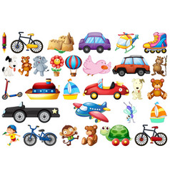 Collection childrens toys on white vector