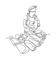 Continuous one line drawing of women cook in a vector