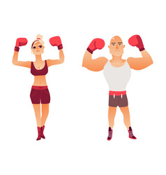 Couple of young caucasian boxers man and woman vector