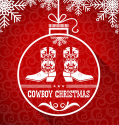 Cowboy red christmas card with text on ball vector