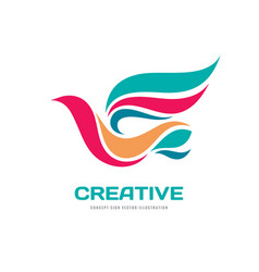 creative - abstract colored bird logo temp vector image