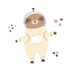Cute dreaming astronaut sloth in a spacesuit vector