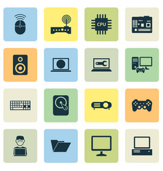 device icons set with keyboard motherboard hard vector image