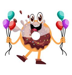 donut holding balloons on white background vector image
