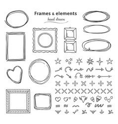 doodle frames and elements hand drawn square vector image