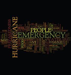 Emergency preparedness for a hurricane text vector
