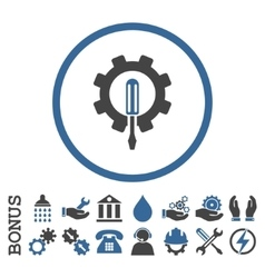 Engineering Flat Rounded Icon With Bonus vector