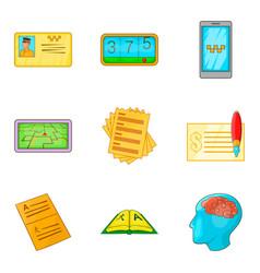 Enumeration icons set cartoon style vector