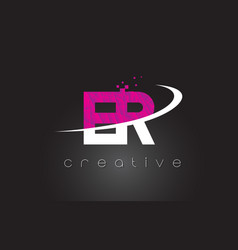 er e r creative letters design with white pink vector image