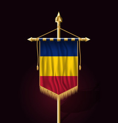 Flag of romania festive vertical banner wall vector