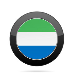 flag of sierra leone shiny black round button vector image
