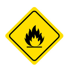 flammable materials warning sign isolated on vector image