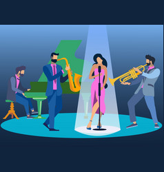 flat jazz music in minimalist style the band vector image