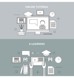 flat linear e-learning vector image