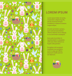 flat poster or banner template with easter bunny vector image