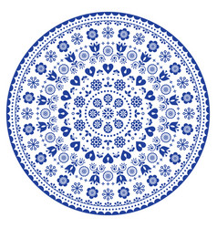 Floral scandinavian mandala design folk art vector