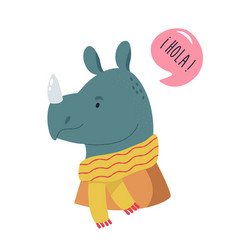 Funny smiling rhino wearing scarf vector
