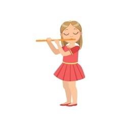 Girl In Red Dress Playing Flute vector