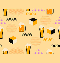 glass beer seamless pattern in 80s memphis vector image
