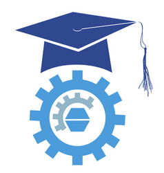 graduation mortarboard cap with gear logo vector image