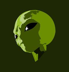Green alien head with big eyes vector