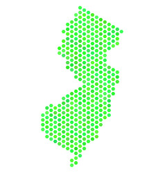 green hex-tile new jersey state map vector image