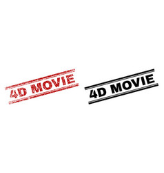 grunge textured and clean 4d movie stamp prints vector image