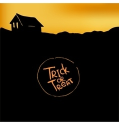 Halloween background with silhouette of hut vector image