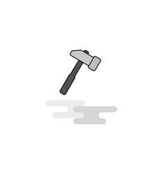 hammer web icon flat line filled gray icon vector image