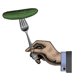 hand holding a fork with a cucumber vector image