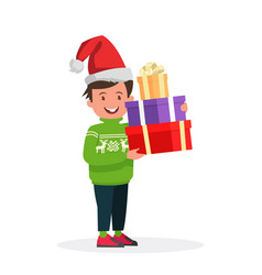 happy boy in christmas hat with a gift vector image