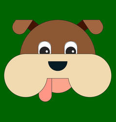 head of a dog in cartoon flat style vector image