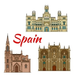 Historic buildings and architecture spain vector