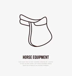 Horse saddle polo flat line icons vector